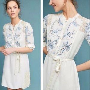 Anthropologie Tiny Amarante Embroidered Dress Sz L